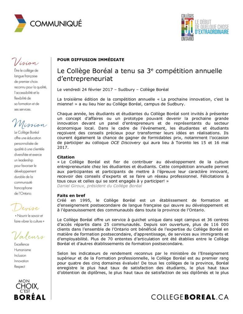 thumbnail of Communiqué_Compétition_Entrepreneuriat_2017