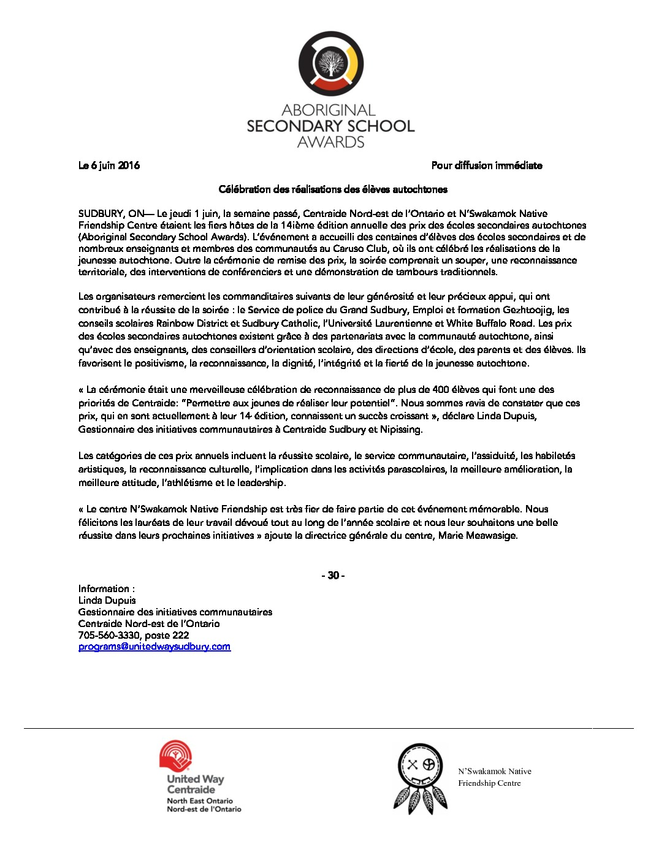 thumbnail of Media Release – Aboriginal Secondary School Awards 2016_FR