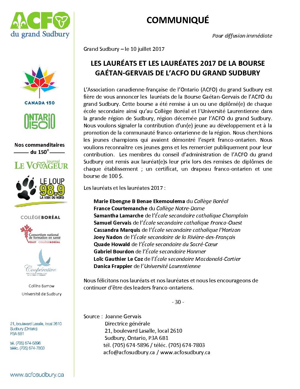 thumbnail of Communiqué – Lauréats 2017