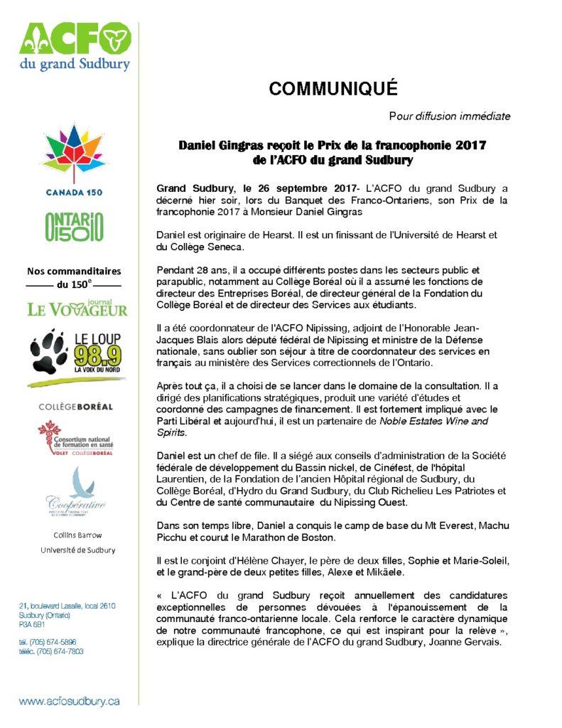thumbnail of Communiqué – Lauréat – Prix de la francophonie 2017