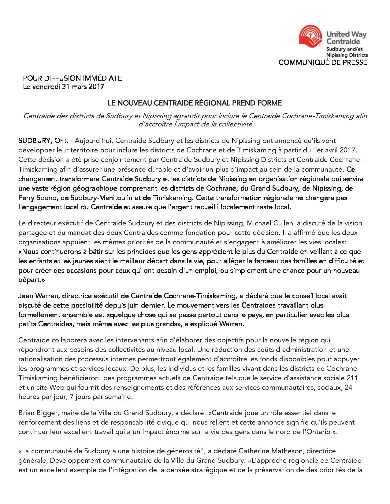 thumbnail of COMMUNIQUÉ DE PRESSE- Sudbury- Expansion
