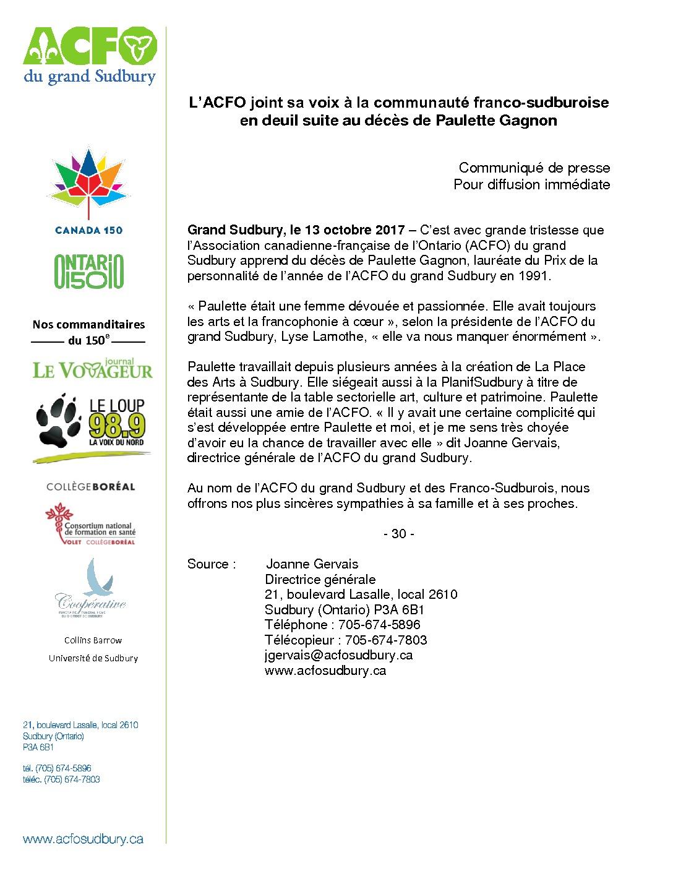thumbnail of Communiqué – décès Paulette Gagnon